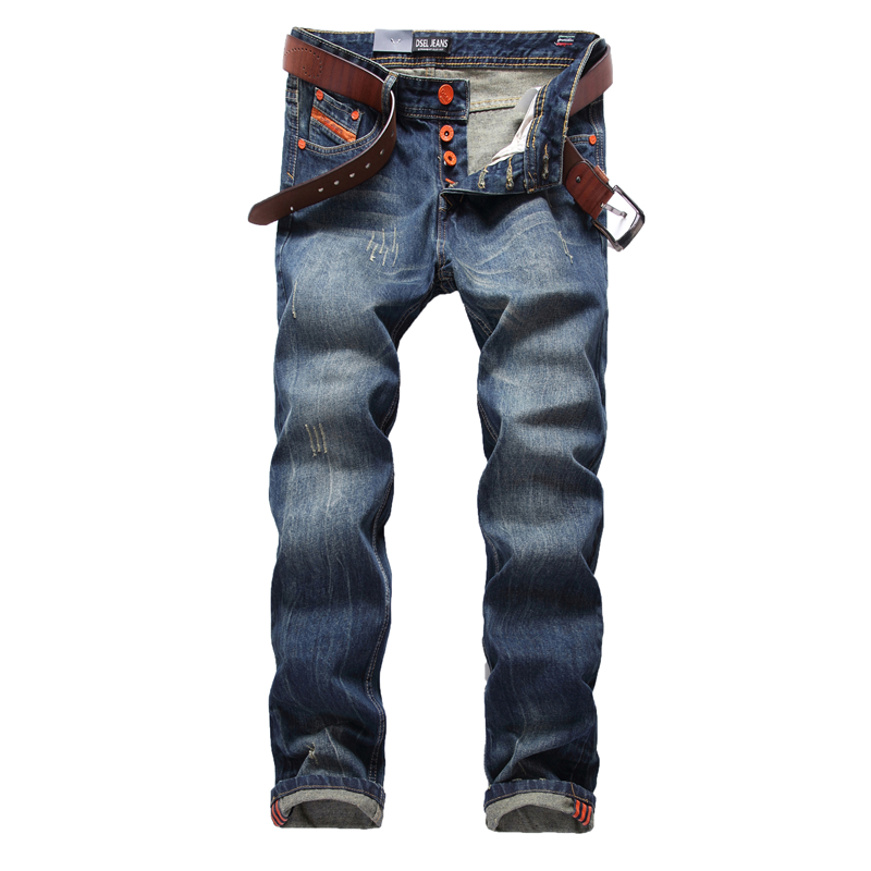 Blue Jeans Men Straight Denim Jeans Trousers Plus Size 29-40 High Quality Cotton Logo Brand orange button Mens Jeans 778Одежда и ак�е��уары<br><br><br>Aliexpress