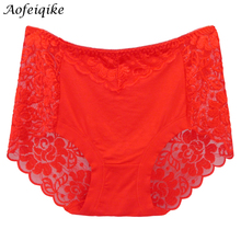 Buy Underwear Women Panties Perspective Sexy Brand Full Transparent Panty Woman Lace Knickers Period Panty Plus Size Briefs XK