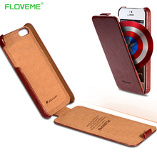 FLOVEME Vertical Retro Phone Case For iPhone 5 5S SE Case Luxury Crazy Horse Skins Leather Flip Cases For iPhone 4 4S 5 5S SE(China)