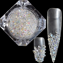 1440pcs SS6 2mm Pointed Nail Design Crystal Clear AB Sparkle Nail Art Rhinestones Decoration Manicure Accessories