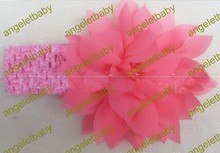 free shipping 30 pcs bird's nest pattern chiffon big petal flower with elastic shimmery crochet headband,girl hairwear, 12 color