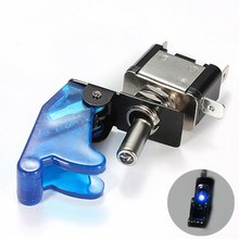 1 PC New DIY Blue LED Illuminated SPST Racing Car Toggle ON/OFF Switch 12V Car Cover Toggle Switch Rocker Control VEQ28 P50(China)