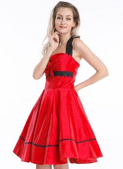 R1415 red rockabilly dress
