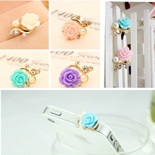 2pc Earphone Time-limited Metal Cwholesale Dust Plug 3.5mm Ultra Xian Resin Flower Mobile Phone Dustproof Cell Accessories(China)