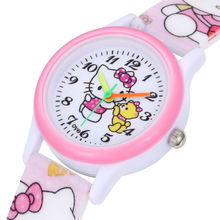 Cute Lovely Cartoon Hello Kitty Silicone Baby Clock Wristwatches Watch for Women Girls Female Student Children relogio feminino(China)