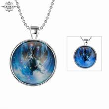 LESIEM Hot New Fashion Glowing Luminous  Clear  unisex pendant necklace Gemini  glow in the dark collier accessories