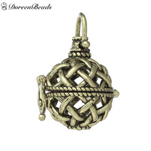 DoreenBeads Copper Wish Box Pendants Round Antique Bronze Mesh Hollow Can Open (Fit Bead: 14mm) 33mm x 21mm, 2 PCs