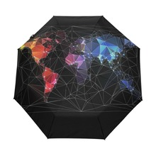 Unique Design World Map Umbrella Originality Artistic UV Protection Personality Automatic Sun Umbrella with Slip-Proof Handle