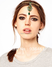 2015 New Arrival Charm Green Flash Rhinestone Fashion Hairpin Bobby Pin Gold Tone