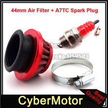 Red Aluminum 44mm Air Filter + A7TC Spark Plug For 2 Stroke 47cc 49cc Pocket Bike Mini Moto Dirt Kids ATV Quad 4 Wheeler