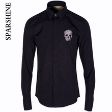 Luxury Brand Men Shirt Chemise Homme 2016 Mens Skull embroidery LOGO Dress Shirts Red Slim Fit Shirts Men Camisa Social