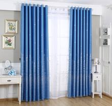 Urijk 1PC Only Luxury Blue Sky And Star Pattern Window Decoration Curtain Fabric Curtains Matching Tulles Modern Home Decoration