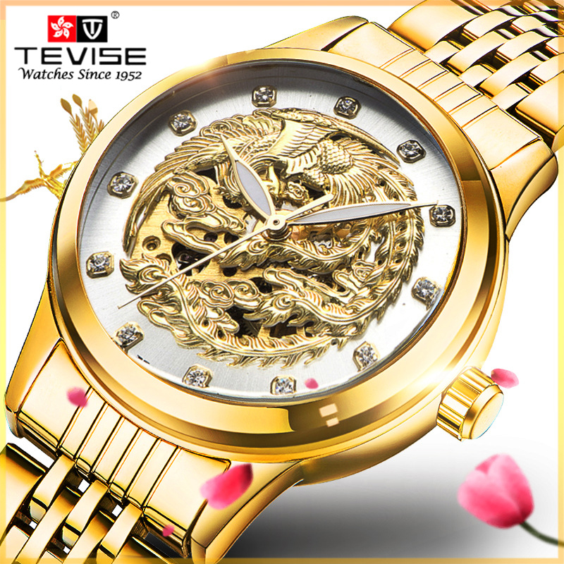 Genuine watch Tevise Brand Luxury Womens Watches Waterproof Business Gold Stainless Steel Ladies Mechanical Fashion Wristwatch<br>