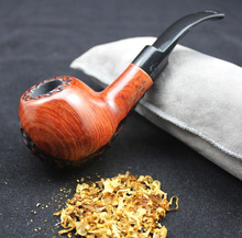 16 Tools Handmade Round Carved Wood Smoking Pipe Set RoseWood Weed Tobacco Wooden Pipes 9mm Filters + Pouch + Holder WXM3y
