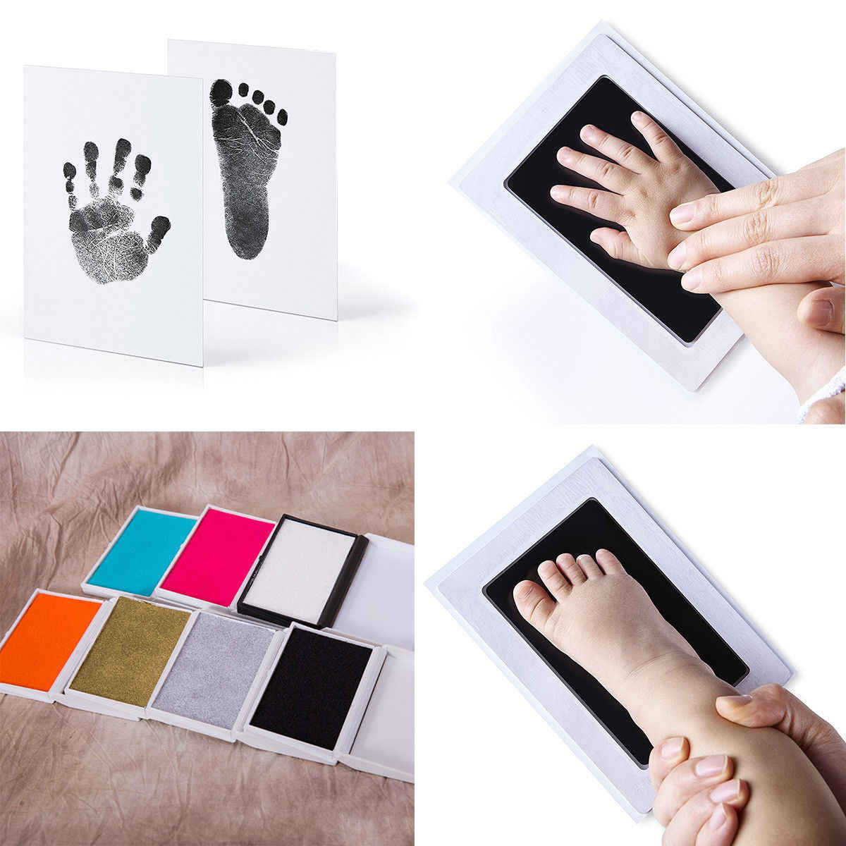 Non Toxic and Safe Print for Baby and Pet to Make Newborn Baby Hand or Footprint Family Keepsake,Blue Baby Handprint//Footprint Ink Pad