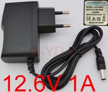 100PCS High quality 12.6V 1000mA 1A 5.5mmx2.1mm Universal AC DC Power Supply Adapter Wall Charger EU For lithium battery
