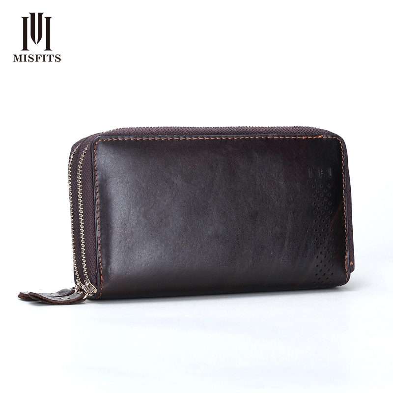 NEW Original Vintage Men Genuine Leather Wallets Brand Hollow Cowhide Multi Clutch Purse Retro Brown Wallet Male Handbags 005<br>