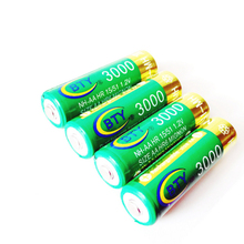 2016 New Factory Sale 100pcs/lot Green 3000mAh 14500Battery Cell AA NIMH Rechargeable AA NI-MH 14500 Battery Tip Head For Toy(China)