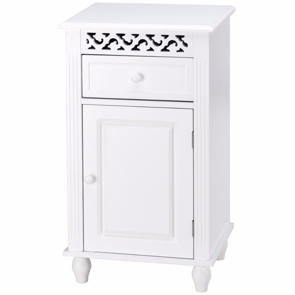 Giantex Storage Floor Cabinet Bathroom Organizer Floor Cabinet Drawer Kitchen White Modern Bathroom Furniture HW57018 6