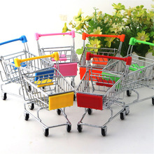 Creative Mini Chrome Plated trolley Storage Box Phone Pen KidsTools Organizer Shopping Cart Office Home Kitchen Collect Tools #3(China)