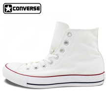 Custom WHITE Converse All Star Hand Painted Shoes High Top Canvas Sneakers Price Varies with Design(China)