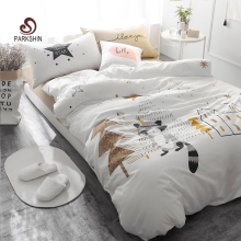 ParkShin Go Home Soft Printed Bedding Set Kids Bedspread Duvet Cover Set Cute 100% Cotton Bed Set With Flat Sheet 4Pcs