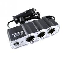 Professional 3 Way Triple Car Cigarette Lighter Socket Splitter 12V/24V +USB Car Charger FREE SHIPPING LOW PRICE CHEAP(China)
