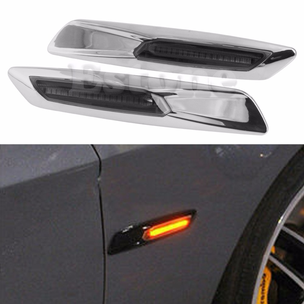 New 1Pair Amber LED Chrome Finish Side Marker Light For BMW 3 Series E81 E90 E60<br><br>Aliexpress