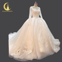 Rhine Real Picture New Arrival Long Sleeves High Lace cathedral train Crystal Sexy Ball gown Bridal Wedding Dresses