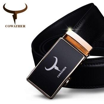 Cowather correa para hombre vaca cinturones de cuero genuino para los hombres de calidad superior 2017 de la manera hebilla de la aleación automático nueva llegada del envío libre