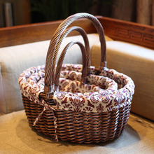 Natural Dark Brown Vintage Family Picnic Basket for Drink Food Zakka Handmade Wicker Storage Basket as Home Sundries Organizer(China)