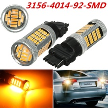 2PCS T20 3156 W21W 4014 92 SMD LED Auto Brake Stop Daytime Running Turn Light Bulb Lamp Yellow Turn Signal 12V