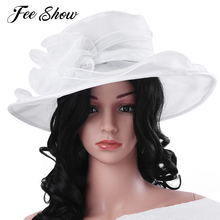 Women Organza Sun Hat with Large Flower Church Party Wedding Cap Headdress Womens Cool Breathable Comfortable Wide Brim Sun Hat