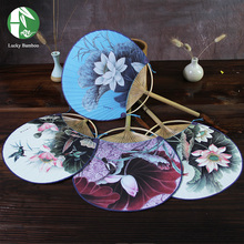 Chinese style hand fan bamboo handmade with round paper paint flowers ladies summer party gift vintage art craft home decoration