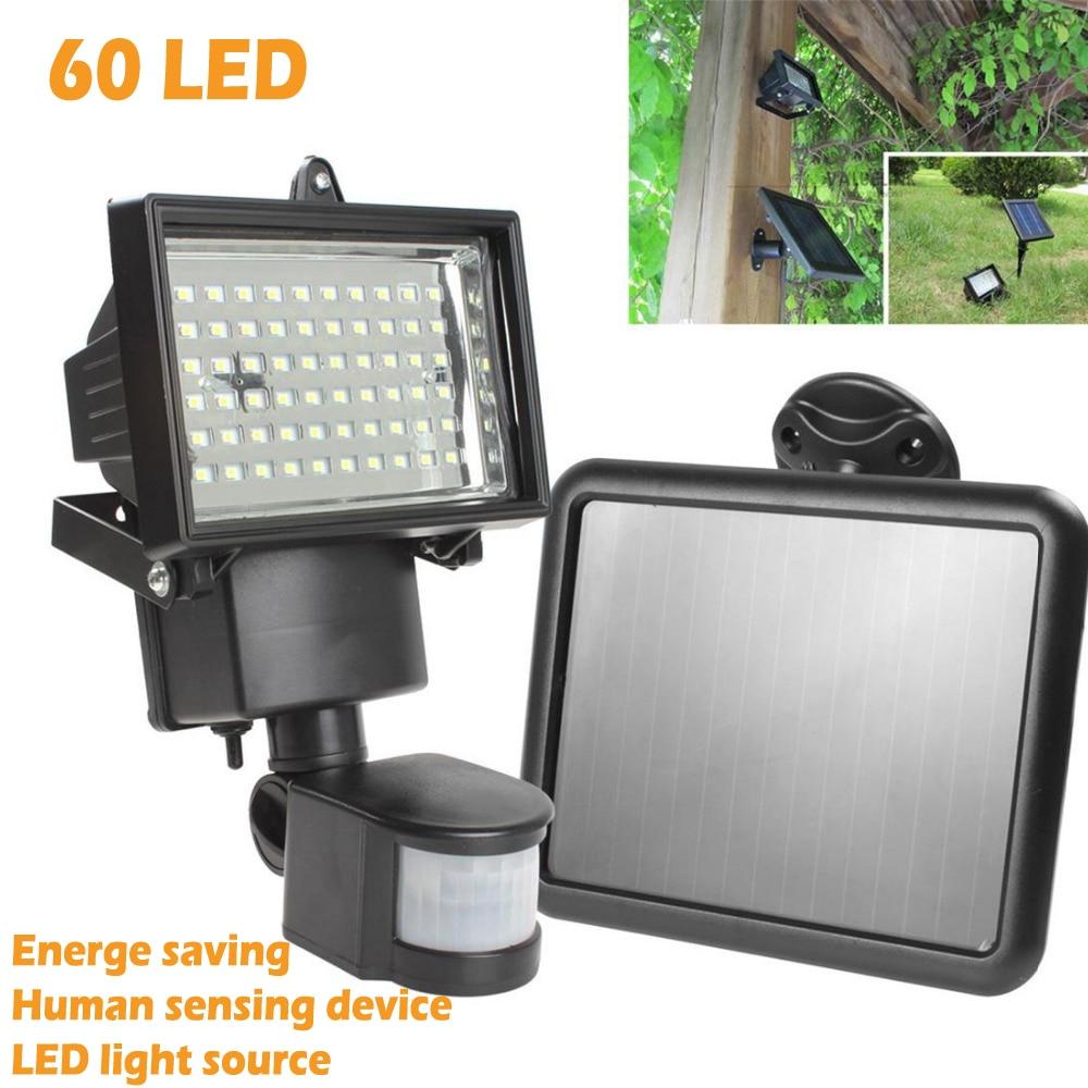 High Quality Solar Panel LED Flood Security Garden Light PIR Motion Sensor 60 LEDs Path Wall Lamps Outdoor Emergency Lamp<br>