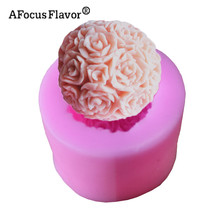 1 Pc 3D Rose Flower Ball Candle Molds For Soap Flowerball Silicone Mold Non-sticky Cake Decor Fondant Chocolate Silicone Stencil(China)