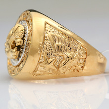 2017 19mm Cool Golden Lion Head Design Men's Rings Eagle Star 18KGP Fashion Men Jewelry Size 8-12 Ring for Male Party Ring Gift