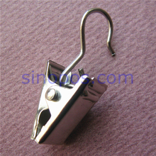 Steel Hook Topped Display Clips, rack rail grid wire curtain hooks cap sock leather exhibit sign hanger laundry clothespin metal(China)
