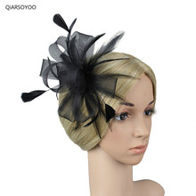 England Women Fancy Prom Hair Clip Girls Black Red Navy Beige Mesh Feather Gauze Fascinators Hat Brooches Bride Hair Accessories