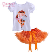 Cutestyles 2017 Halloween Princess Children Clothing Set Ice Cream Girl T Shirt And Orange Tutu Dress For Girl Party TC30721-7