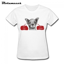 Women T Shirts Fashion Short Sleeve 100% Cotton Dog Image T-shirt Brand Clothes Family Top Tees WTD012