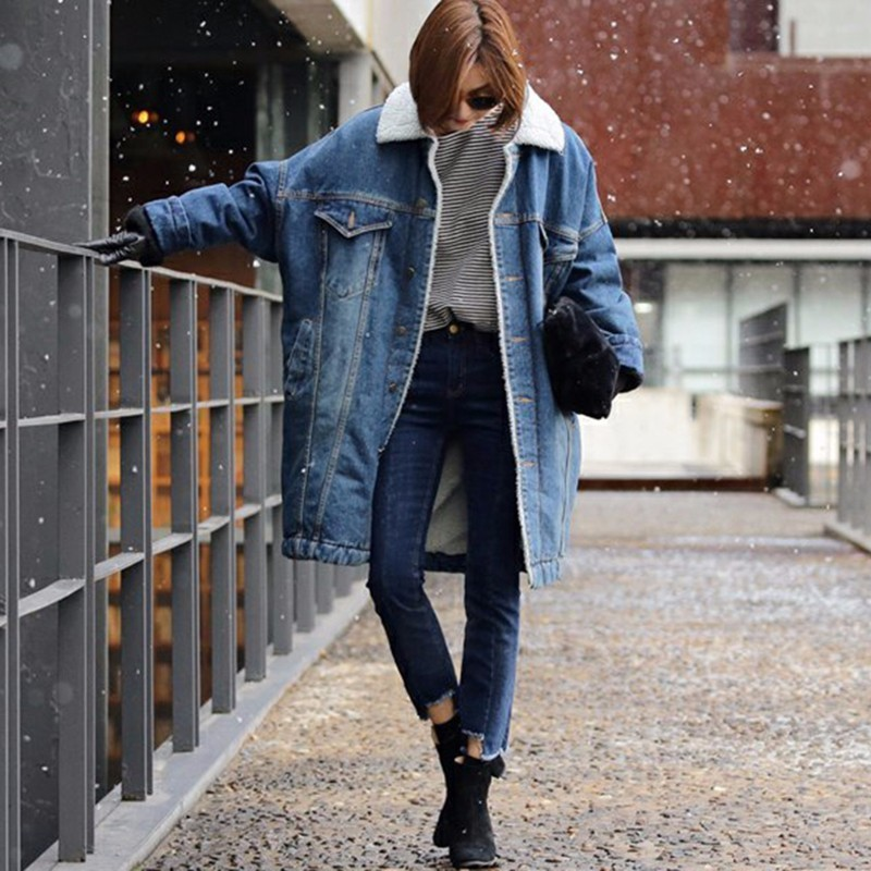CHICEVER Denim Warm Parkas Women Winter 2017 Long Sleeve Thicker Loose Plus Size Warm Women Basic Coats Fashion Clothes 2017Îäåæäà è àêñåññóàðû<br><br>