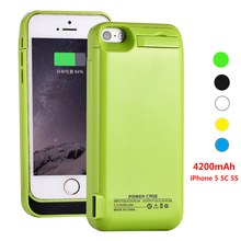 Voor iphone 5 5 s 5c se acculader case vermogen externe batterij power case powerbanks 4200 mah 0.5a output
