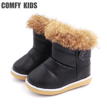 Comfy Kids Boot Child Shoes For Girls Snow Boots Shoes Rubber Sole Baby Girls Outdoor Snow Cotton Shoes Plush Ankle Boots Girl(China)