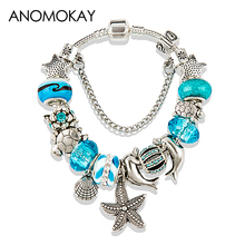 European Fashion Blue Ocean Style Glass Charms Bracelets Silver Plated Tortoise Beads Bracelets & Bangles DIY Jewelry P15409