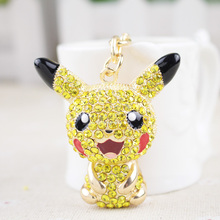 Cartoon Pokemon figures alloy keychains anime Pikachu Bulbasaur Gastly Chansey Squirtle cute pendants Wholesale