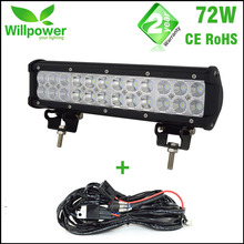 CE Rohs 5760-7200LMs combo double rows auto 12Inch 72W car led light bars 12v offroad for truck car