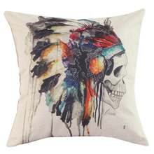 Hot Cotton Linen Skull Throw Pillow Case Cover Bed Room Back Seat Waist Cushion Home Bones Pillow Covers Pillowcases Pillow Sham