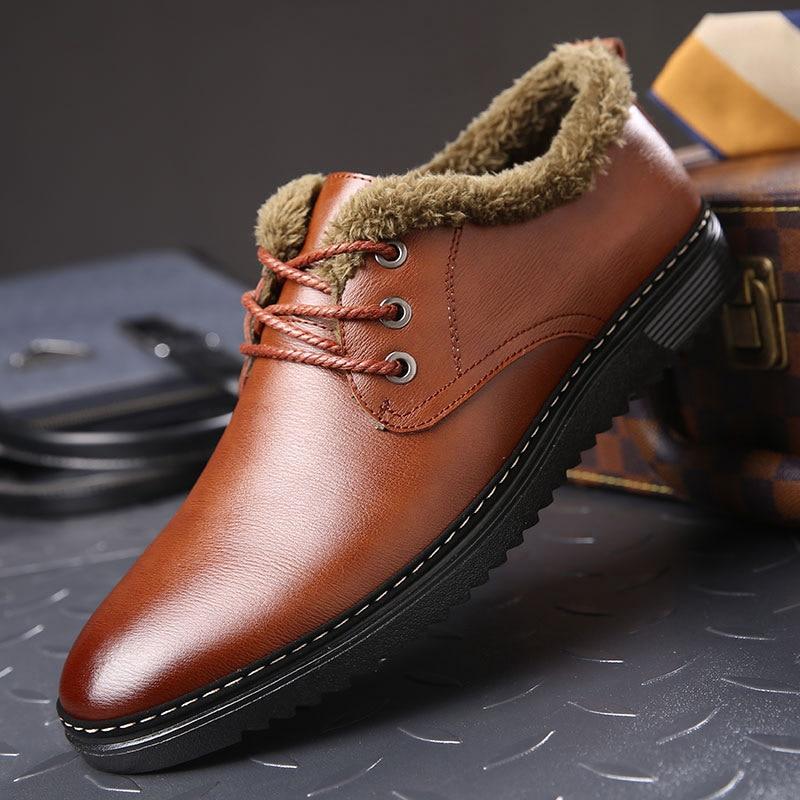 New Winter Men Shoes Warm Fur Casual Leather Shoes Men Fashion Low Lace UP Black Dress Shoes Flats Zapatos Hombre Size 38-44<br>