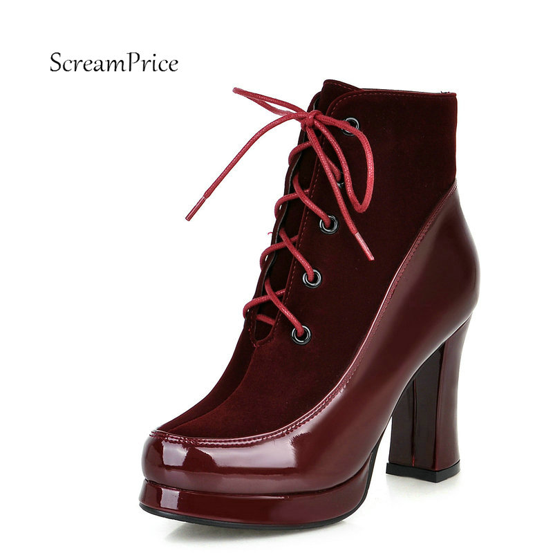 Women Lace Up Platform Thick High Heel Ankle Boots Fashion Round Toe Cross Tied Winter Shoes Red Wine Red Black<br>
